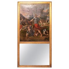 Unusual 18th Century French Louis XVI Trumeau Mirror