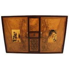 Unusual 1920s Mexican Theme Small Tequila Bar Cabinet with Music Box