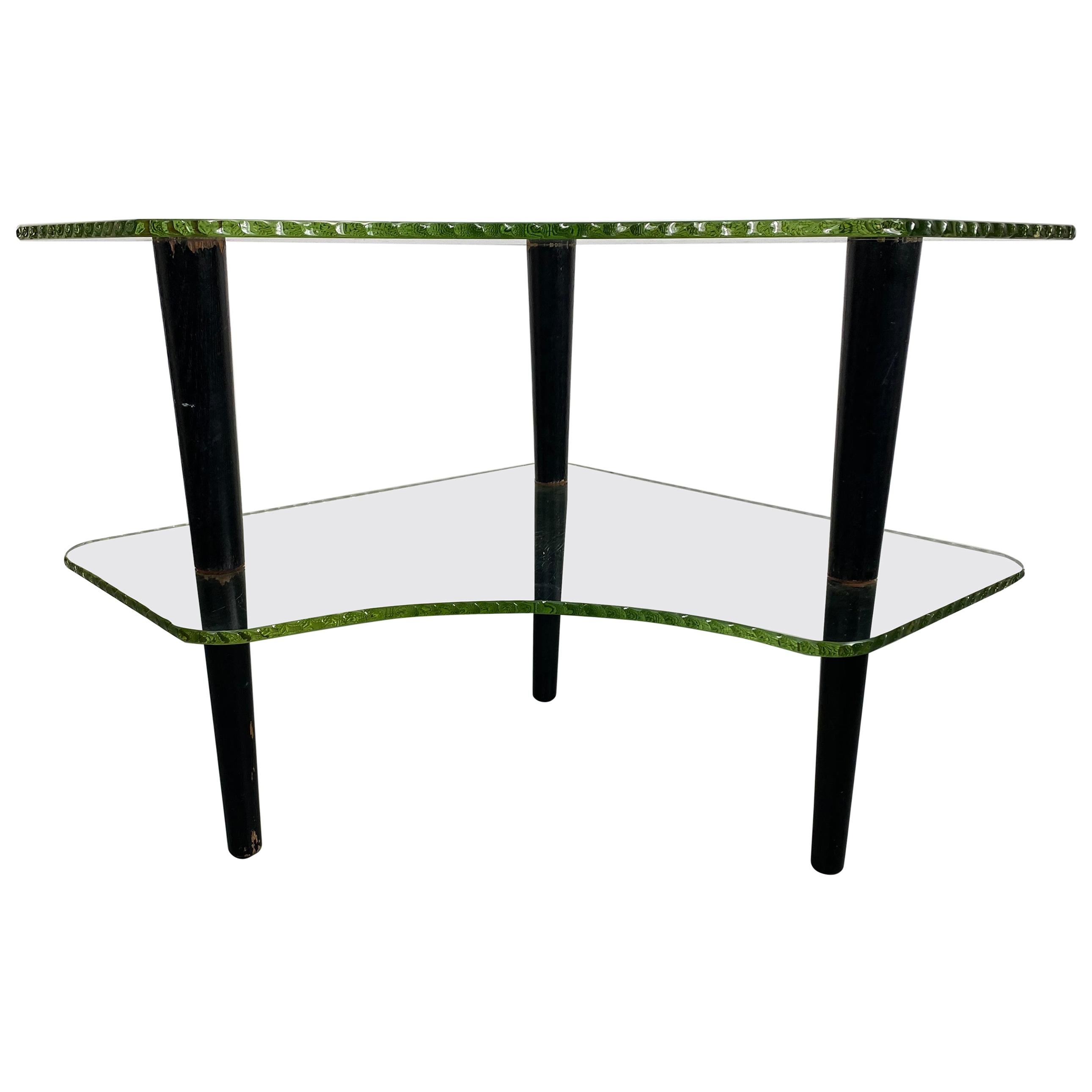"""Unusual 1930s """"wave glass"""" Two-Tier Table by Gilbert Rhode for Herman Miller"""