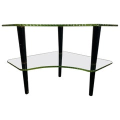 "Unusual 1930s ""wave glass"" Two-Tier Table by Gilbert Rhode for Herman Miller"