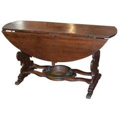 Unusual 19th Century Italian Drop-Leaf Table