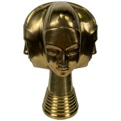 Unusual 4-Head Modernist Brass Sculpture by Dolbi Cashier
