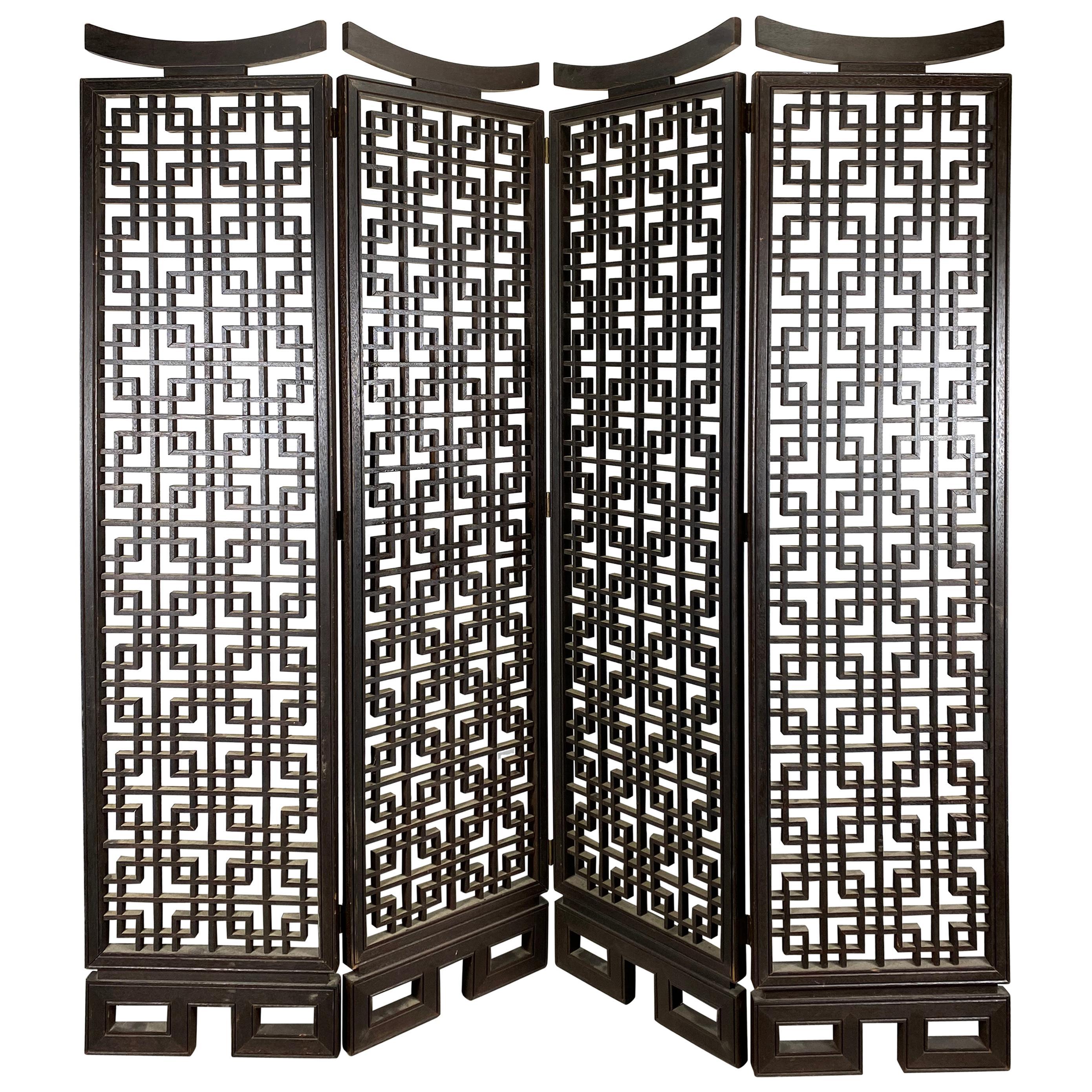 Unusual 4-Panel Traditional Meji Japanese Shoji Screen / Room Divider