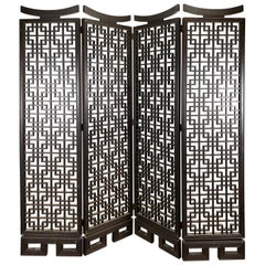 Unusual 4-Panel Traditional Meji Japanese Shoji Screen / Room Divider