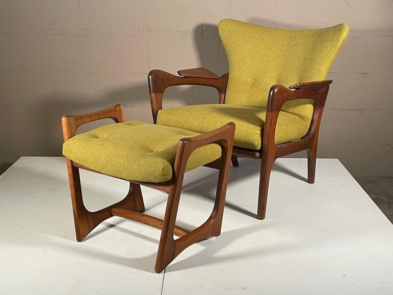 Unusual Adrian Pearsall Armchairs with Ottomans For Sale 6