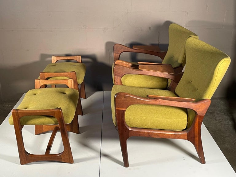 Mid-Century Modern Unusual Adrian Pearsall Armchairs with Ottomans For Sale