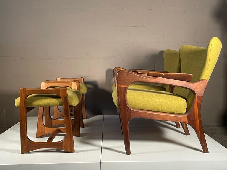 Unusual Adrian Pearsall Armchairs with Ottomans In Good Condition For Sale In St.Petersburg, FL