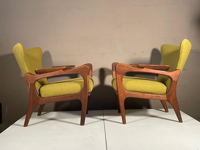 Mid-20th Century Unusual Adrian Pearsall Armchairs with Ottomans For Sale