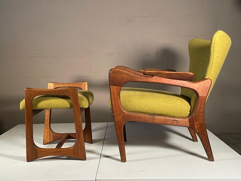 Walnut Unusual Adrian Pearsall Armchairs with Ottomans For Sale
