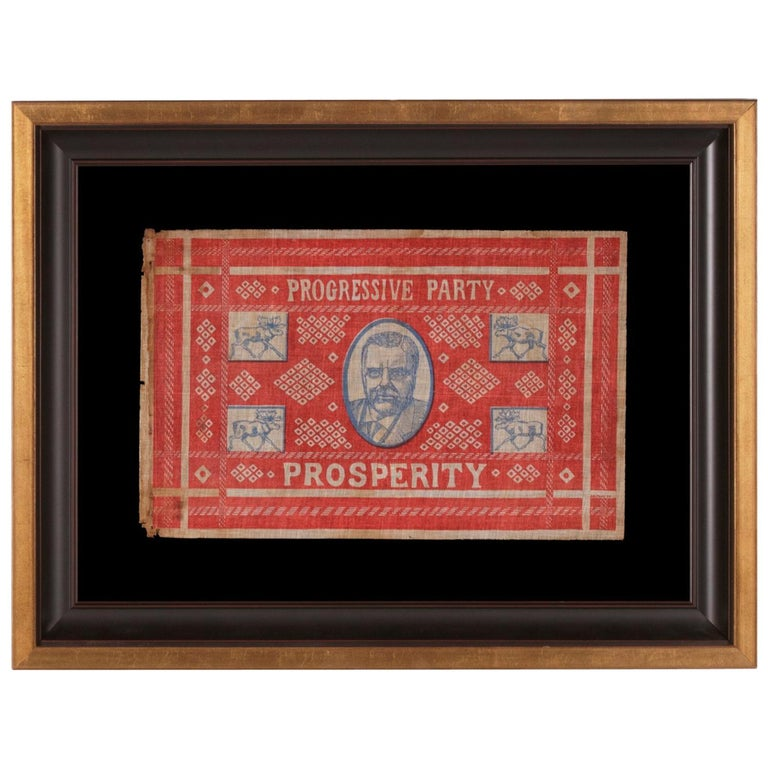 Unusual and Graphic Kerchief Style Parade Flag from Roosevelt's 1912 Campaign For Sale