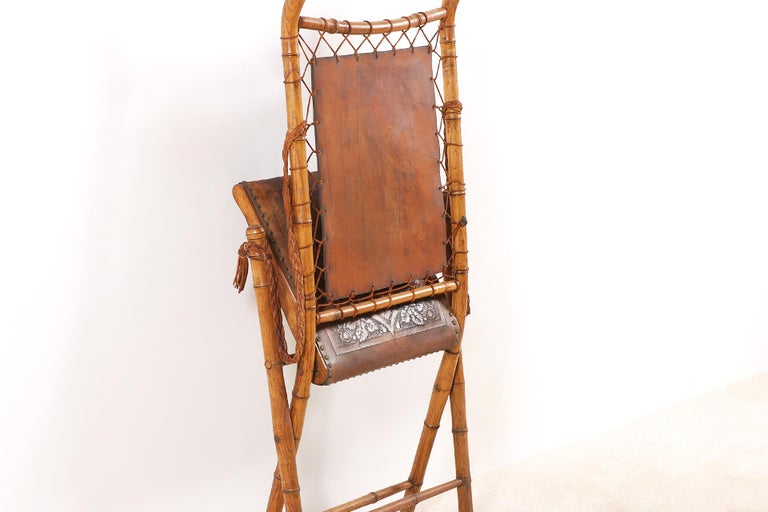 Unusual and Rare Folding Campaign Chair, France, 19th Century For Sale 5