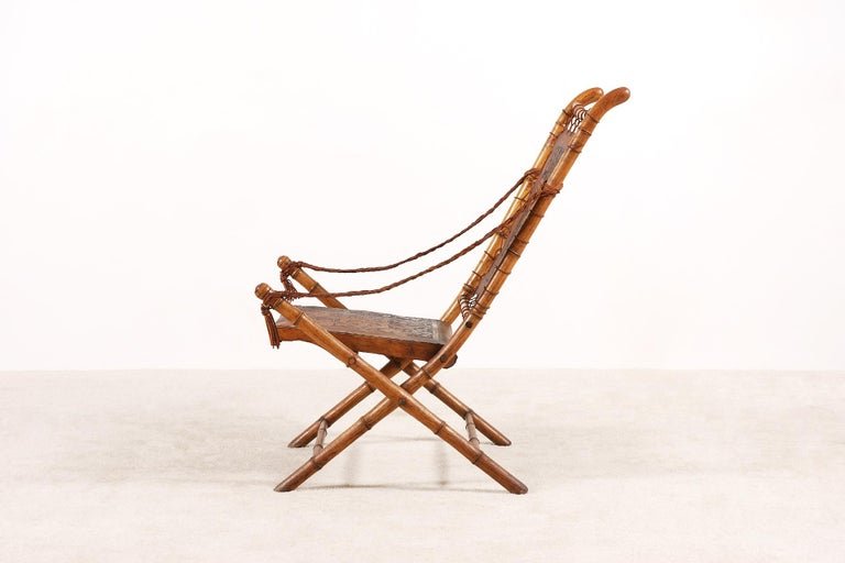 French Unusual and Rare Folding Campaign Chair, France, 19th Century For Sale