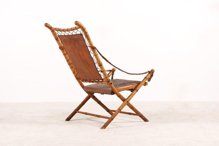 Hand-Carved Unusual and Rare Folding Campaign Chair, France, 19th Century For Sale