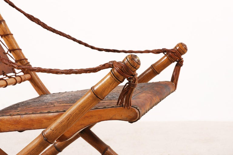 Unusual and Rare Folding Campaign Chair, France, 19th Century For Sale 1