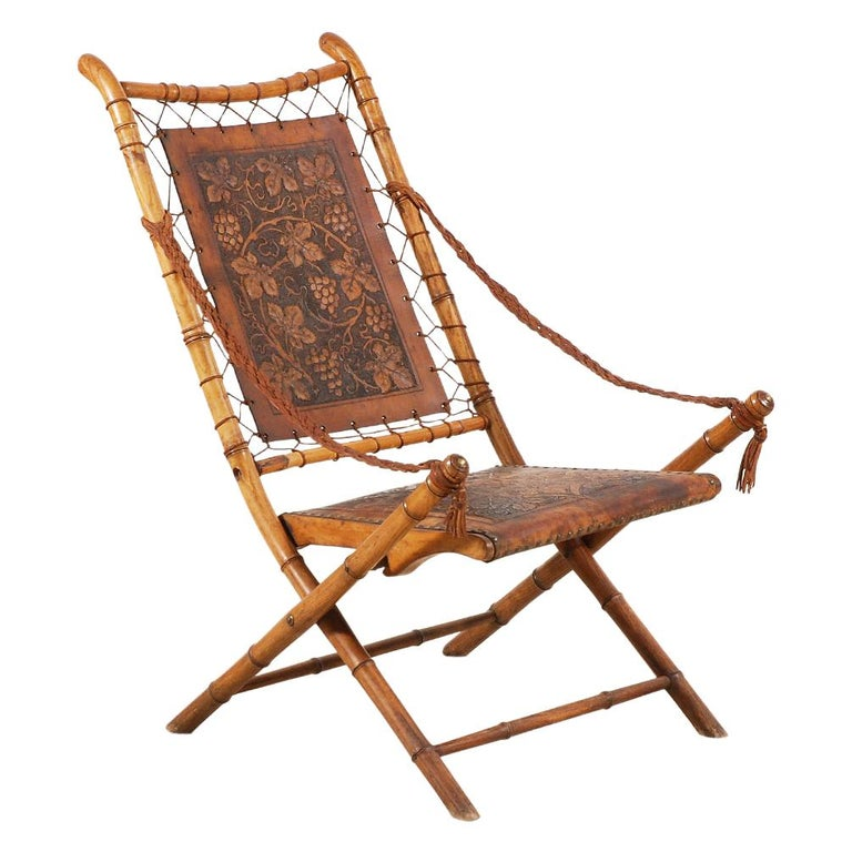 Unusual and Rare Folding Campaign Chair, France, 19th Century For Sale