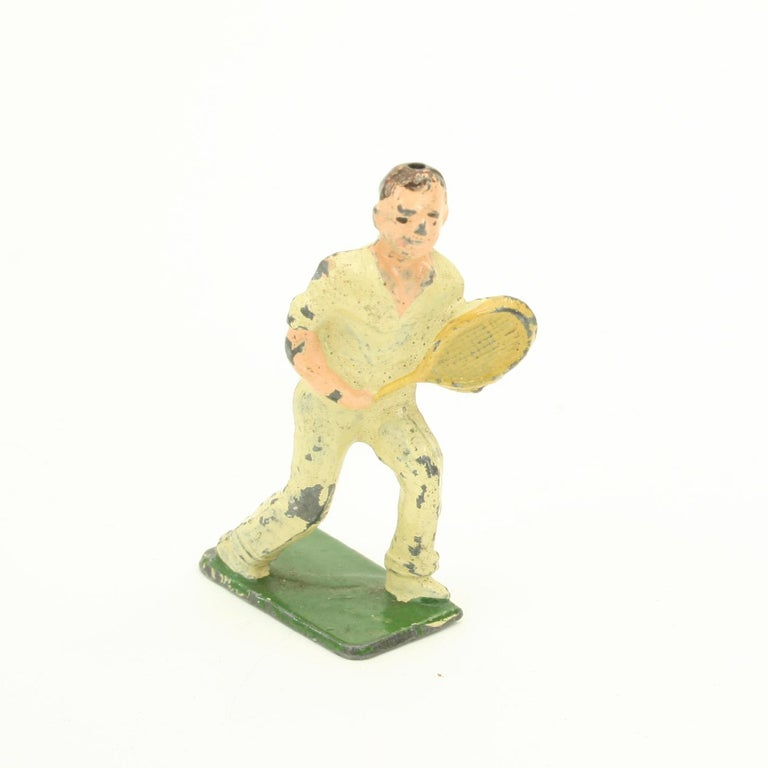 English Unusual and Rare Lead Male Tennis Figure Made by John Hill & Company For Sale