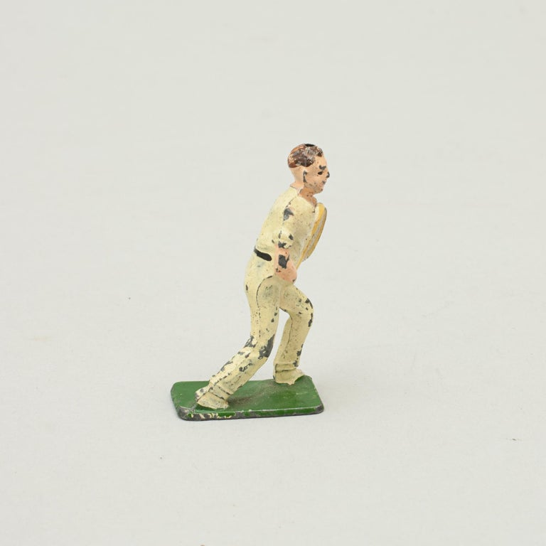 Unusual and Rare Lead Male Tennis Figure Made by John Hill & Company In Good Condition For Sale In Oxfordshire, GB