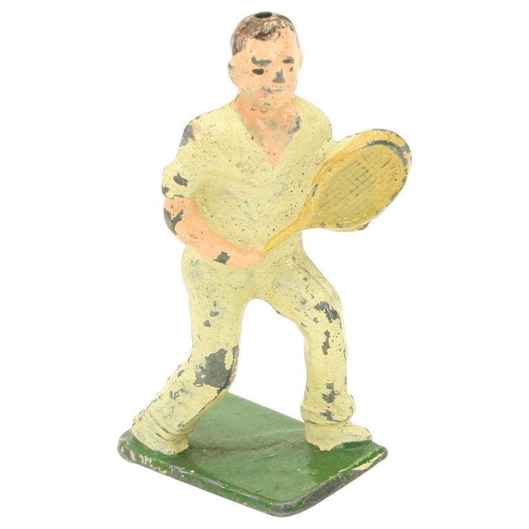 Unusual and Rare Lead Male Tennis Figure Made by John Hill & Company For Sale