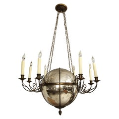 Unusual Antique Eight-Light Brass and Mercury Glass Chandelier