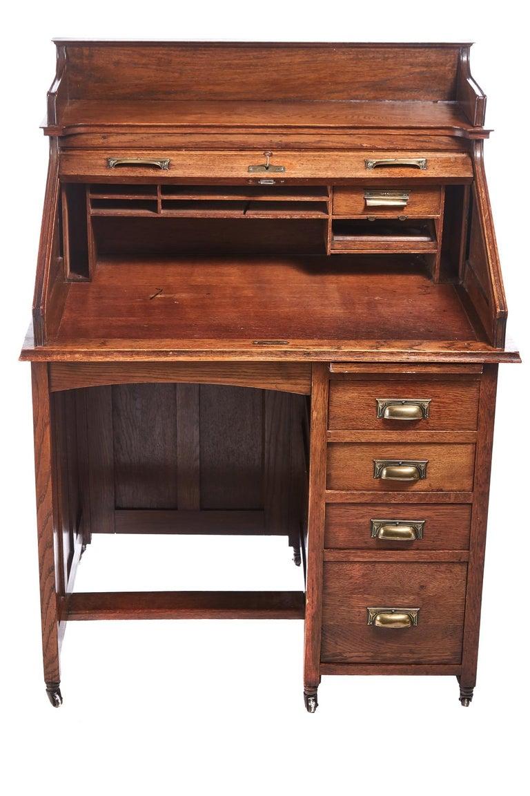 Victorian Unusual Antique Freestanding Oak Roll Top Desk For Sale - Unusual Antique Freestanding Oak Roll Top Desk At 1stdibs