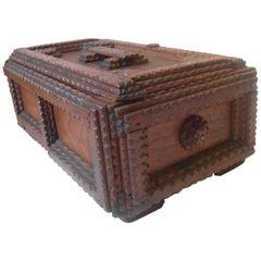 Unusual Antique Hand Carved German Volk Art Miniature Coffin, Box, circa 1900