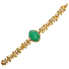 Unusual Antique Hunting Emerald Cameo Bracelet