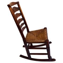 Unusual Antique Oak Ladder Back Rocking Chair