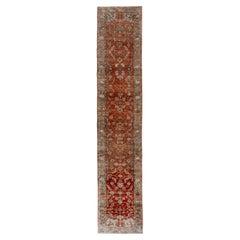 Unusual Antique Persian Heriz Long Runner, Rust Field, Gray Borders, Crica 1920s