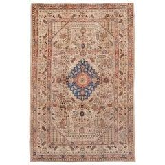 Unusual Antique Persian Tabriz Rug, Cream Field & Colorful Details