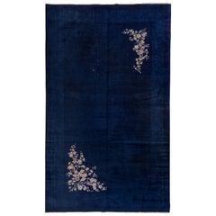 Unusual Antique Royal Blue Chinese Tianjin Interwar Carpet, Art Deco Style