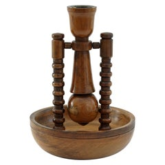 Unusual Antique Treen Carved Gimbal Ship Candlestick, 19th-20th Century
