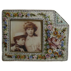 Unusual Antique Venetian Micro Mosaic Photograph / Picture Frame, circa 1900