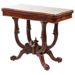 Unusual Antique Victorian Burr Walnut Basket Base Card Table