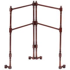 Unusual Antique Victorian Mahogany Folding Towel Rail