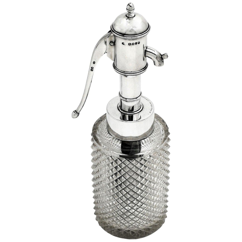 Unusual Antique Victorian Silver & Cut Glass Scent Bottle Perfume Atomiser, 1885