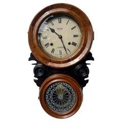 Unusual Antique Victorian Walnut and Ebonised Wall Clock