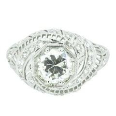 Unusual Art Deco 1.50 CTW Diamond & Platinum Alternative Ring GIA Certified