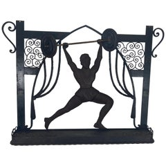 Unusual Art Deco Hand Forged Iron Silhouette Sculpture of Body Builder, Boxer