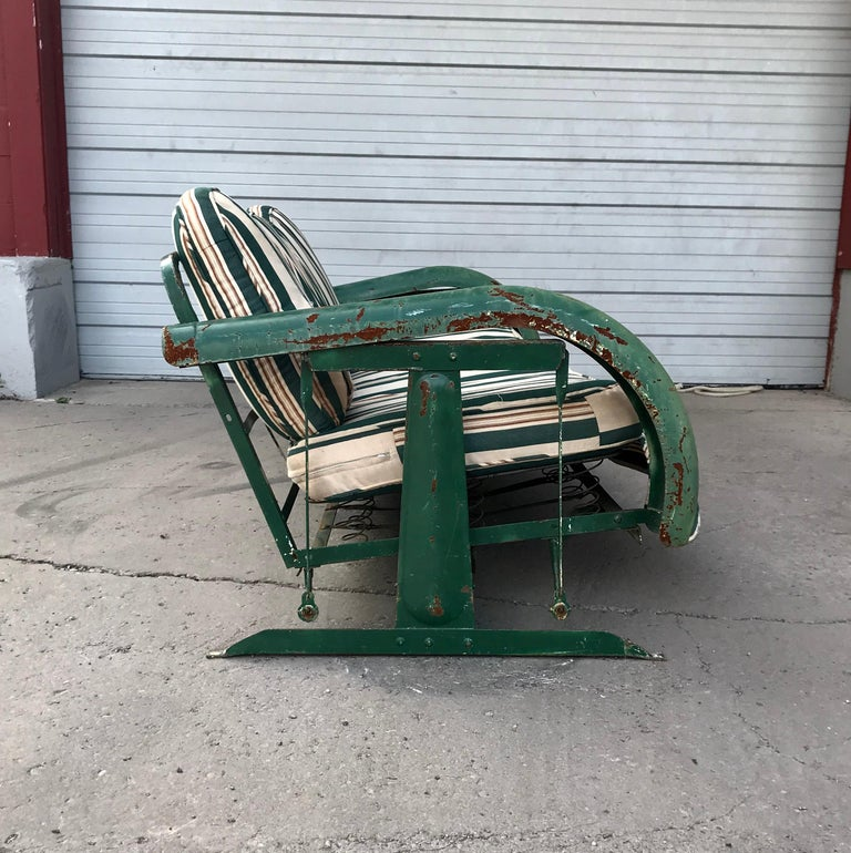 Art Deco Porch: Unusual Art Deco Metal Porch Glider With Skirted Fenders