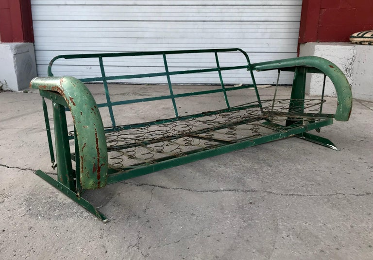 Unusual Art Deco Metal Porch Glider With Skirted Fenders Circa 1930s For 1