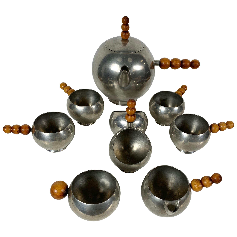 Unusual Art Deco, Modernist 8-Piece Tea Set, Chrome or Wood Ball Design