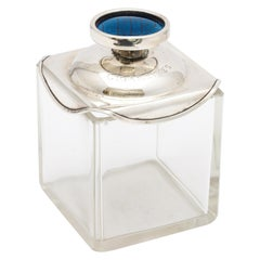 Unusual Art Deco Sterling Silver-Mounted Glass Cigarette Jar