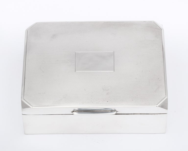Unusual Art Deco Style Sterling Silver Table Box with Hinged Lid For Sale 7