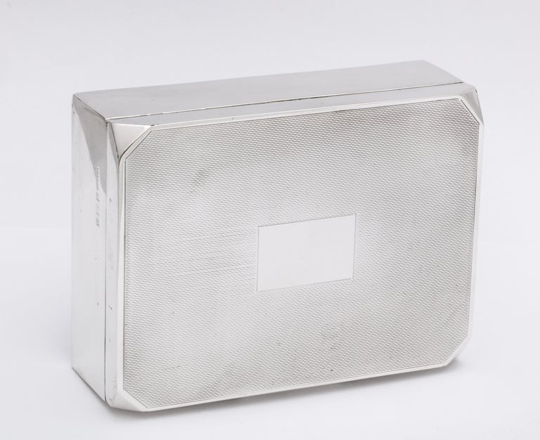 Unusual Art Deco Style Sterling Silver Table Box with Hinged Lid For Sale 8