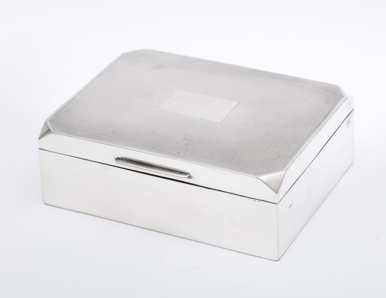 English Unusual Art Deco Style Sterling Silver Table Box with Hinged Lid For Sale
