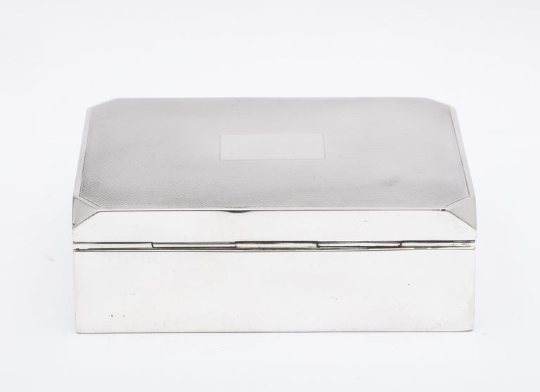 Unusual Art Deco Style Sterling Silver Table Box with Hinged Lid For Sale 1