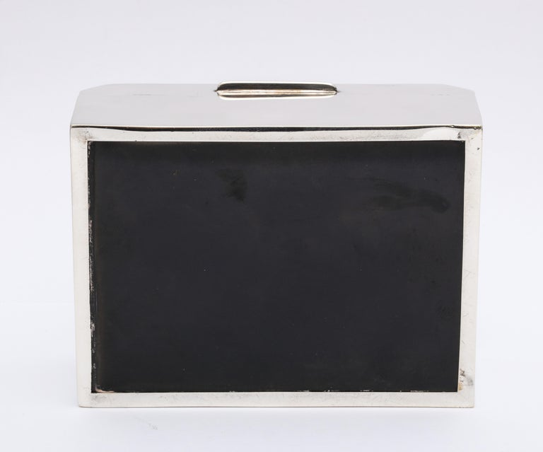 Unusual Art Deco Style Sterling Silver Table Box with Hinged Lid For Sale 4