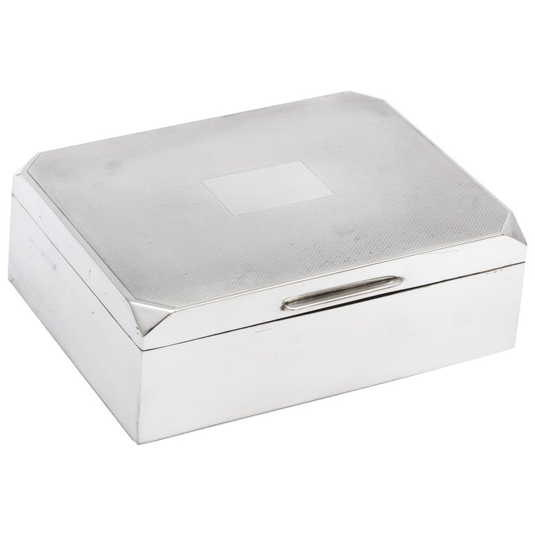 Unusual Art Deco Style Sterling Silver Table Box with Hinged Lid For Sale