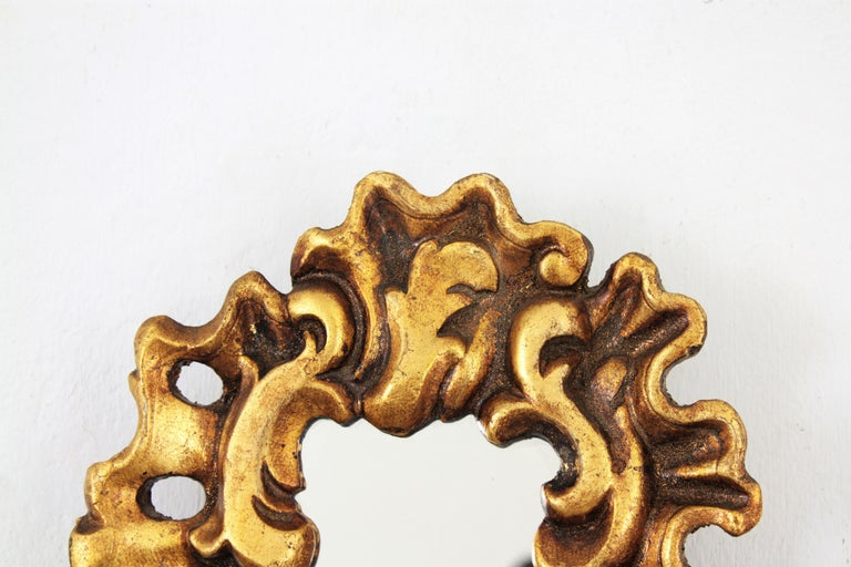 Unusual Art Nouveau Style Carved Giltwood Mini Sized Mirror, Spain, 1920s For Sale 3