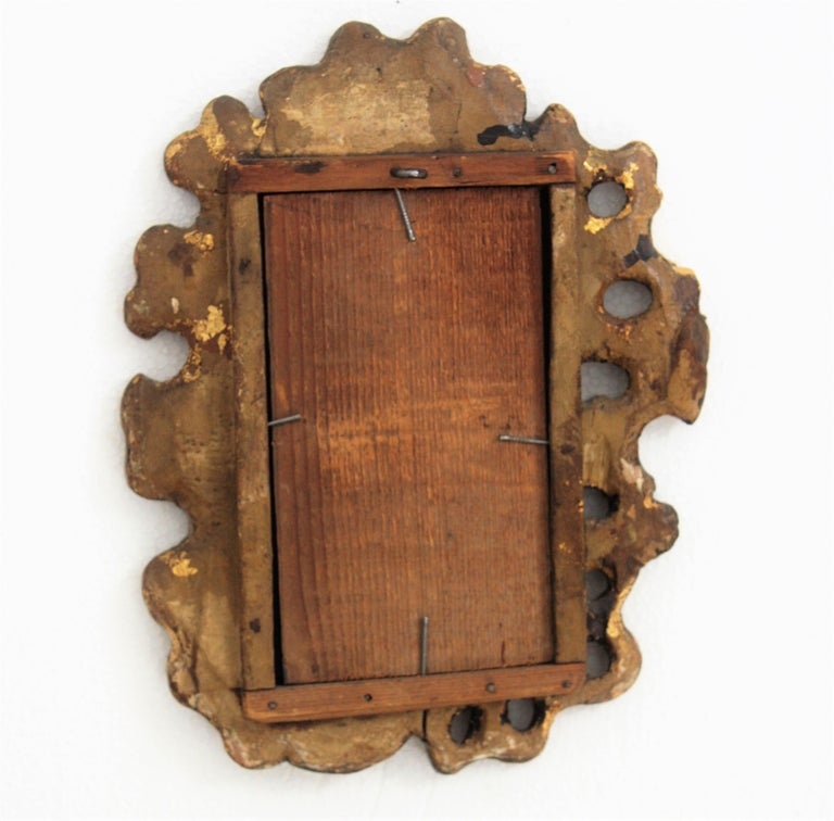 Unusual Art Nouveau Style Carved Giltwood Mini Sized Mirror, Spain, 1920s For Sale 4